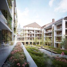 Ursulinenhof | a2o architecten Social Housing Architecture, Brick Architecture, Landscape Architecture Design, Architecture Visualization, Sustainable Architecture, Rendering Architecture, Architecture Diagrams, Building Facade, Urban Planning