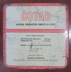 Vintage Medicine tin COTAB Aspirin Phenacetin tablets Mfg. Drugdeal corp.India  #COTAB