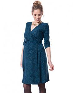 Chic Polka Dot Teal Maternity Wrap Dress - Pregnant Women