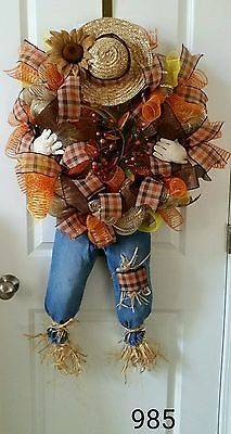 Autumn fall Deco Mesh burlap scarecrow wreath orange, brown, Levis #985