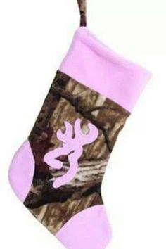 d18785413a7d3 Browning Pink and Camo Christmas Stocking. Browning Buckmark on front.  Browning Pink and Camo stocking. Pink and Camo Christmas Stocking.