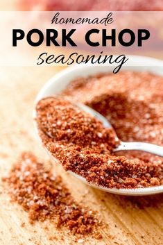 pork chop recipes This pork chop seasoning is the perfect blend of spices straight from your pantry. Quick and easy seasoning recipe for grilled pork chops, baked pork chops, or pan seared pork chops! Thin Pork Chops, Seared Pork Chops, Dry Rub Pork Chops, Grilled Pork Chop Marinade, Traeger Pork Chops, Marinade For Pork Chops, Barbeque Pork Chops, Oven Baked Pork Chops, Pork Chop Rub