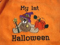 1st Halloween Bib with Bear Embroidery by maggiesembroidery, $10.00