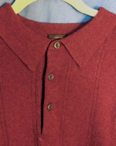 100% Cashmere Tasso Elba Ribbed Men's Sweater Polo Size XXL Red