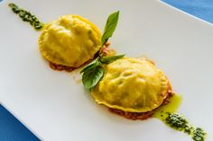 Lobster Ravioli with Crab Meat and Herbs Spicy Sauce