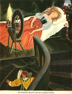 Sleeping Beauty illustration by Gustaf Tenggren Beauty Illustration, Children's Book Illustration, Book Illustrations, Sleeping Beauty Art, East Of The Sun, Fable, Briar Rose, Fairytale Art, Fantasy Art
