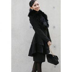 $20.18 Slim Fit Faux Fur Turndown Collar Large Hem Coat For Women