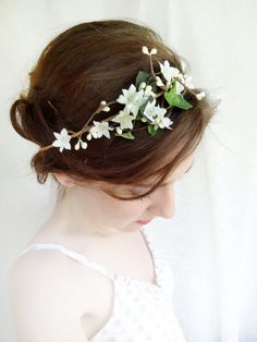 ivy head wreath ivory flower hair circlet green by thehoneycomb