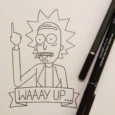 """Waaay up, Morty"" Rick Sanchez((Rick and Morty)) Rick Und Morty Tattoo, Tattoo Sketches, Drawing Sketches, Rick And Morty Drawing, Easy Drawings, Doodle Art, Cartoon Art, Doodles, Tattoos"