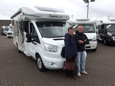 Diane and David from Gillingham Kent, are pictured collecting their New Chausson 640 TITANIUM from T C Motorhomes. Garage Lockers, Hideaway Bed, Gillingham, Motorhome, Recreational Vehicles, David, Pull Out Bed, Rv, Foldable Bed
