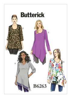 "B6263 | Butterick Patterns - Asymmetrical tunic options. I also like the ""shoulder pads"" on D. Maybe they could be a sparkly or beaded material? -DB"