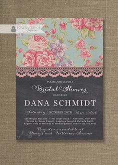 Chalkboard Lace Bridal Shower Invitation by digibuddhaPaperie, $23.00