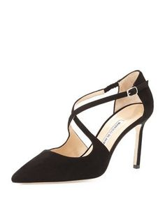 Umice Suede Crisscross Pump, Black by Manolo Blahnik at Neiman Marcus.