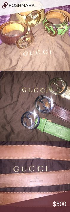 3 MENS AUTHENTIC GUCCI BELTS Selling all three gucci belts in Brown, Green and Gold. Size 36 mens. Authenticity show in picture! Comes with dustbag and gucci paper bag. Lightly worn, (9/10) The Brown is the most worn (6/10) Bought from GUCCI STORE on 5th AVENUE NYC!! Price is for all three, but can be sold individually. *SIMILAR BELTS SELLING FOR $390 each* WILLING TO NEGOTIATE !! Gucci Accessories Belts