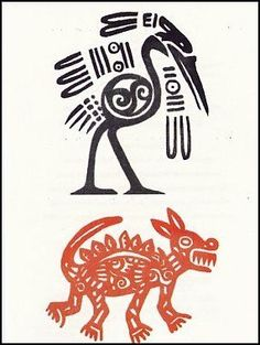 """Tribal Animal Designs Temporaray Tattoo by Tattoo Fun. $3.95. This is a Temporary tattoo of a two tribal animals. One a black and white crane and the other a burnt orange dog. The crane measures approx 2"""" long x 1 3/4"""" wide. The dog measures approx 1 1/2"""" long x 2"""" wide."""