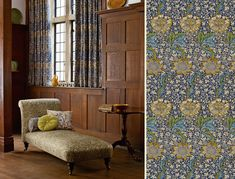 Arts & Crafts/Mission style room with quartersawn oak paneling --- William Morris Fabrics - Curtains: Kennet 220322 - Chaise Longue: Bluebell 220330 - Cushions from left: Kennet 220322, Ruskin RUSRU324 & Mary Isobel 230340 --- Morris & Co.