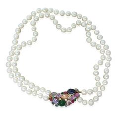 14k Gold Pearl Gem Set Clasp Necklace Available on our August 11th Auction @ hamptonauction.com
