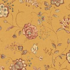 $45 The Wallpaper Company 56 sq. ft. Yellow Jewel Tone Jacobean Floral Wallpaper-WC1280320 at The Home Depot