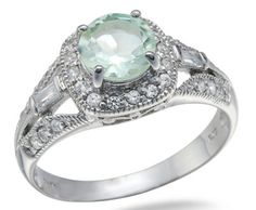 ❤ 2.25 CT 3 Stone Green Amethyst Ring In Sterling Silver ❤
