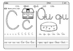 Fichas infantiles para aprender a leer y aprender a escribir con la letra C y con la letra Q