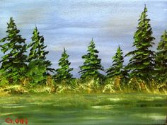 Pine Trees  Oil painting