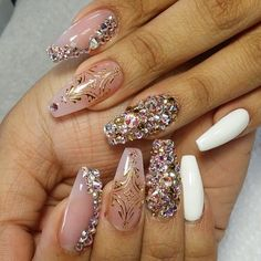 Nail Designs With Stones - Coffin Nails - Nails Album