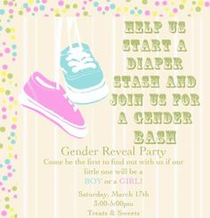 Gender Reveal Party Invitation Idea Come be the first to find out with us if our little one will be a Boy or Girl Saturday, February th Sarah and Josh Diaper Party Invitations, Gender Reveal Party Invitations, Baby Gender Reveal Party, Gender Party, Diaper Parties, Baby On The Way, Reveal Parties, Baby Party, Cool Baby Stuff