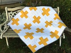 Swiss Cross Square Baby Quilt // Plus Sign Quilt by SewLauraQuilts