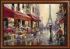 """Large contemporary Paris image created by artist Brent Heighton. See """"April in Paris"""" and many more like it at GreatBIGCanvas.com"""