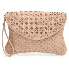Sole Society 'Averie' Woven Faux Leather Clutch ($45) ❤ liked on Polyvore