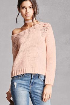 A purl knit sweater featuring a distressed design, long dropped sleeves, a round neckline, and a ribbed trim. This is an independent brand and not a Forever 21 branded item.