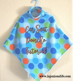 Tutorial for making your child a poncho for the car so they can be safely buckled into their car seat and still be warm in the winter months. Baby Car Seat Blanket, Car Seat Poncho, Easy Baby Blanket, Baby Car Seats, Baby Blankets, Tie Blankets, Toddler Poncho, Baby Poncho, Kids Poncho