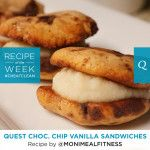 Quest Nutrition Chocolate Chip Vanilla Sandwiches #cheatclean So I made these into 8 cookies, and just mixed peanut butter and sugar free cool whip together for the filling... YUM!!