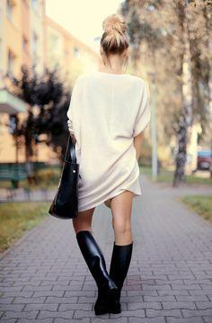 Idealny Sweter Na Jesien Duzy Obszerny Cieply Idealne Buty Na Jesienne Blota I Kaluze Ka Business Casual Outfits For Women Riding Boots Equestrian Outfits