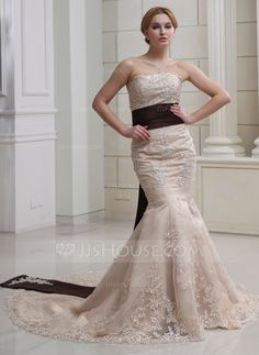 Wedding Dresses - $186.99 - Mermaid Strapless Chapel Train Satin Wedding Dress With Lace Sash Beadwork Sequins (002012894) http://jjshouse.com/Mermaid-Strapless-Chapel-Train-Satin-Wedding-Dress-With-Lace-Sash-Beadwork-Sequins-002012894-g12894
