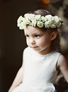 Classic flower girl in white flower crown: http://www.stylemepretty.com/2016/08/26/st-regis-washington-dc-ballroom-real-wedding/ Photography: Bonnie Sen - http://bonniesen.com/