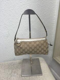 Gucci Canvas Monogram Pouch Handbag Tan And Gold #Gucci #Baguette