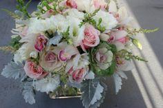 wedding centerpiece flowers blush pink and gray wedding vintage elegance http://sophisticatedfloral.com/