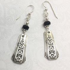 Demitasse Spoon Earrings, with Black Onyx, 'Fortune' Dangle Silverware Earrings, Spoon Jewelry Fork Jewelry, Silverware Jewelry, Beaded Jewelry, Silver Jewelry, Handmade Jewelry, Jewellery, Bullet Jewelry, Cutlery, Metal Jewelry