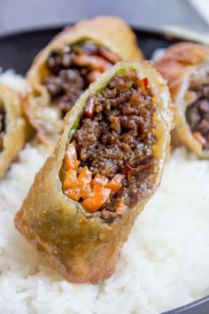 Best Recipes With Ground Beef - Korean Ground Beef Egg Rolls - Easy Dinners and . - Best Recipes With Ground Beef – Korean Ground Beef Egg Rolls – Easy Dinners and Ground Beef Rec - Egg Roll Recipes, Easy Meat Recipes, Mexican Food Recipes, Appetizer Recipes, Easy Meals, Cooking Recipes, Korean Recipes, Chinese Recipes, Healthy Meals