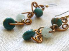 Bead And Wire Artisan Earrings by TamiLopezDesigns on Etsy, $22.00