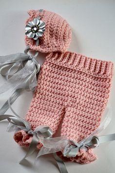 Newborn Baby Girl Crochet Scalloped Bonnet Hat by unRaveledCrochet