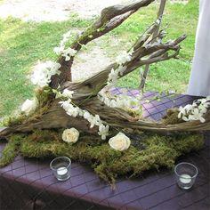 Driftwood Centerpieces | Brown Green White Altar/Arch Arrangements Centerpiece Centerpieces ...