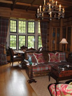 Living Room Ralph Lauren Design,...Love that Ralph used the ANDERSON Tartan on the leather sofa ! Beautiful !!!!!!!