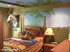 Girl's horse rider bedroom by www.Embellishmentskids.com WHAT?! It's like your horse shares a room with you! EVG would LOVE this!