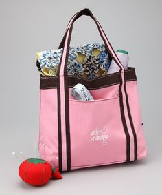 Take a look at this Pink Stitch Happy Take-Along Tote by Stitch Happy on #zulily today!