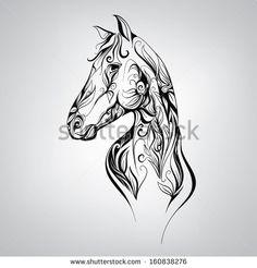 dessin cheval pour tatouage
