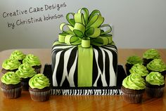 Lime Green Zebra Present Cake