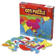 GeoPuzzle Asia  Educational Geography Jigsaw Puzzle 50 pcs ** Continue to the product at the image link.