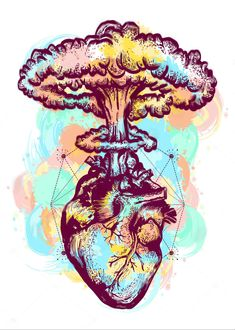 Nuclear explosion of anatomical heart color tattoo and t-shirt. Vector - Nuclear explosion of anatomical heart color tattoo and t-shirt design surreal graphic. Heart and nuclear explosion tattoo art. Symbol of love, feelings, energy, water color splashes Art And Illustration, Art Sketches, Art Drawings, Drawing Art, Kunst Tattoos, Medical Art, Love Symbols, Color Tattoo, Tattoo Art